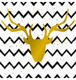 Gold deer head on chevron pattern background
