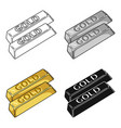 golden bars icon in cartoon style isolated on vector image