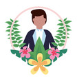 groom with flower garland wedding day vector image
