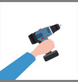 hand holds electric screwdriver tool vector image