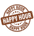 happy hour brown grunge round vintage rubber stamp vector image vector image