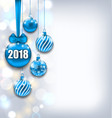 happy new year 2018 with blue glass balls glitter vector image vector image