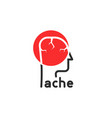 head ache simple logo like rebus vector image vector image