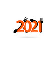 logo fork and spoon with 2021 new year creative vector image