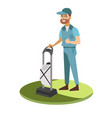 man in uniform washing carpet with vacuum cleaner vector image vector image