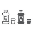 mouthwash bottle line and glyph icon vector image vector image