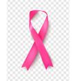 pink breast cancer awareness ribbon on transparent vector image