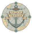 retro travel banner with a ship anchor and map vector image vector image