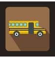 School yellow bus icon flat style vector image vector image