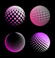 set abstract halftone 3d spheres 4 vector image vector image
