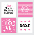 set of 4 cute gift romantic postcards hearts vector image