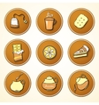 Set tea and sweets round icons vector image vector image