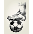 Soccer player foot on soccer ball vector image vector image