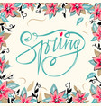 spring lettering with hand drawn spring flower vector image
