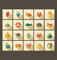 symbols of food in style of a retro vector image vector image