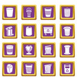 trash can icons set purple square vector image vector image