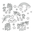unicorn rainbow magic wand sketch set vector image vector image