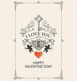 vintage valentine card with key cupids and heart vector image vector image