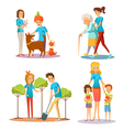 Volunteer People Help Flat Cartoon Collection vector image vector image