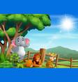 wild animals sitting and enjoying at zoo vector image vector image