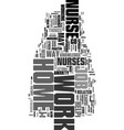 work at home nurse text word cloud concept vector image vector image