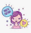 youth culture millenial woman cartoon vector image