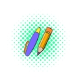 Pencil and pen icon comics style vector image