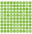 100 audio icons hexagon green vector image vector image