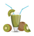 a glass fresh kiwi juice vitamin refreshing vector image vector image