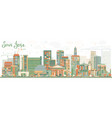 abstract san jose california skyline with color vector image vector image