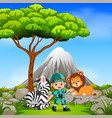 adventurer and wild animal posing with mountain vector image vector image
