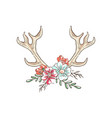 antlers with flowers hand drawn floral vector image vector image