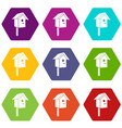 birdhouse icons set 9 vector image