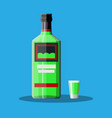 bottle of absinthe with shot glass vector image vector image