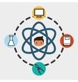 boy school student molecule laboratory vector image