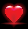 bright red heart on a black background vector image vector image
