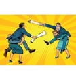 Business people office battle men riding women vector image