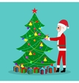 cartoon Santa Claus decorate Christmas tree vector image vector image