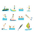 cartoon water sport and characters people set vector image vector image
