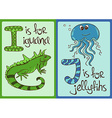 Children Alphabet with Funny Animals Iguana and vector image
