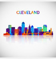 cleveland skyline silhouette in colorful vector image vector image