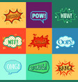 comic book speech bubble sticker set with colorful vector image
