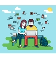 Couple with laptop outdoors vector image vector image