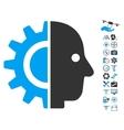 Cyborg Head Icon With Copter Tools Bonus vector image vector image
