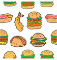 fast food various of doodles vector image vector image