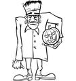 frankenstein cartoon for coloring book vector image vector image