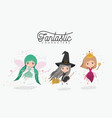 girly fantastic character set of princess fairy vector image