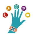 hand wearing smart watch wearable technology white vector image vector image