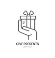 Hand with present vector image vector image