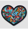 i love you floral heart hand drawn flowers vector image